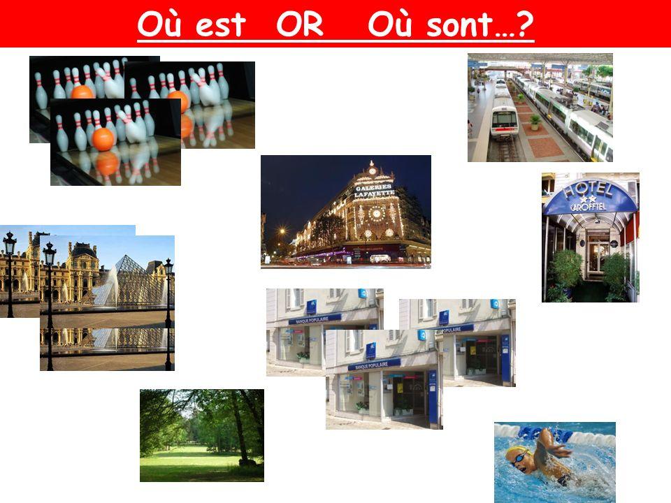 les bowling les musées lhôtel le parc la gare les magasins la banque la piscine Où est…? Où se trouve…? Où sont…? Où se trouvent…?