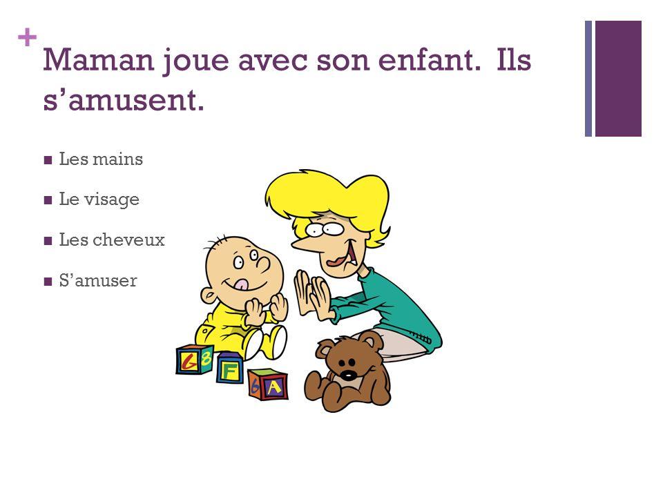 + Maman joue avec son enfant. Ils samusent. Les mains Le visage Les cheveux Samuser
