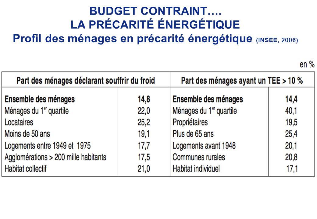 SCIENCES-PO Cycle durbanisme BUDGET CONTRAINT…. LA PRÉCARITÉ ÉNERGÉTIQUE Profil des ménages en précarité énergétique (INSEE, 2006)