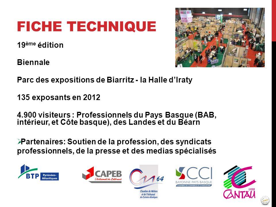 FICHE TECHNIQUE 19 ème édition Biennale Parc des expositions de Biarritz - la Halle dIraty 135 exposants en 2012 4.900 visiteurs : Professionnels du P