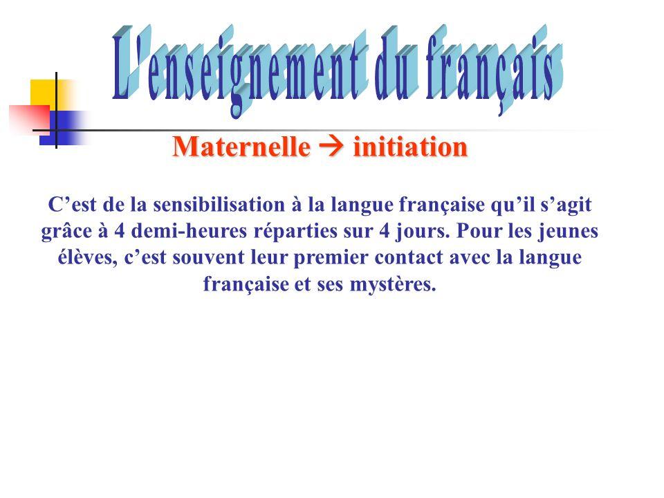 Maternelle initiation Cest de la sensibilisation à la langue française quil sagit grâce à 4 demi-heures réparties sur 4 jours. Pour les jeunes élèves,