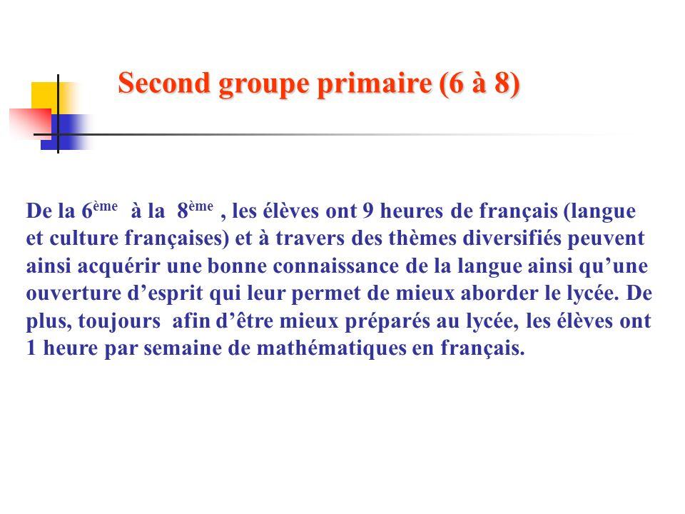 De la 6 ème à la 8 ème, les élèves ont 9 heures de français (langue et culture françaises) et à travers des thèmes diversifiés peuvent ainsi acquérir