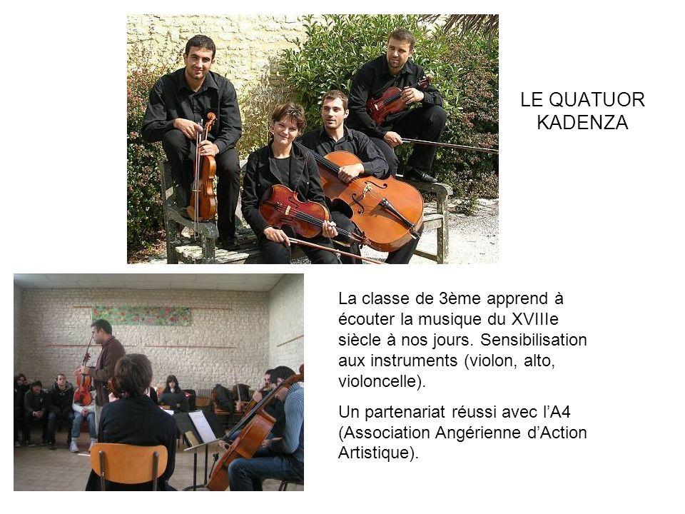 LE QUATUOR KADENZA La classe de 3ème apprend à écouter la musique du XVIIIe siècle à nos jours. Sensibilisation aux instruments (violon, alto, violonc