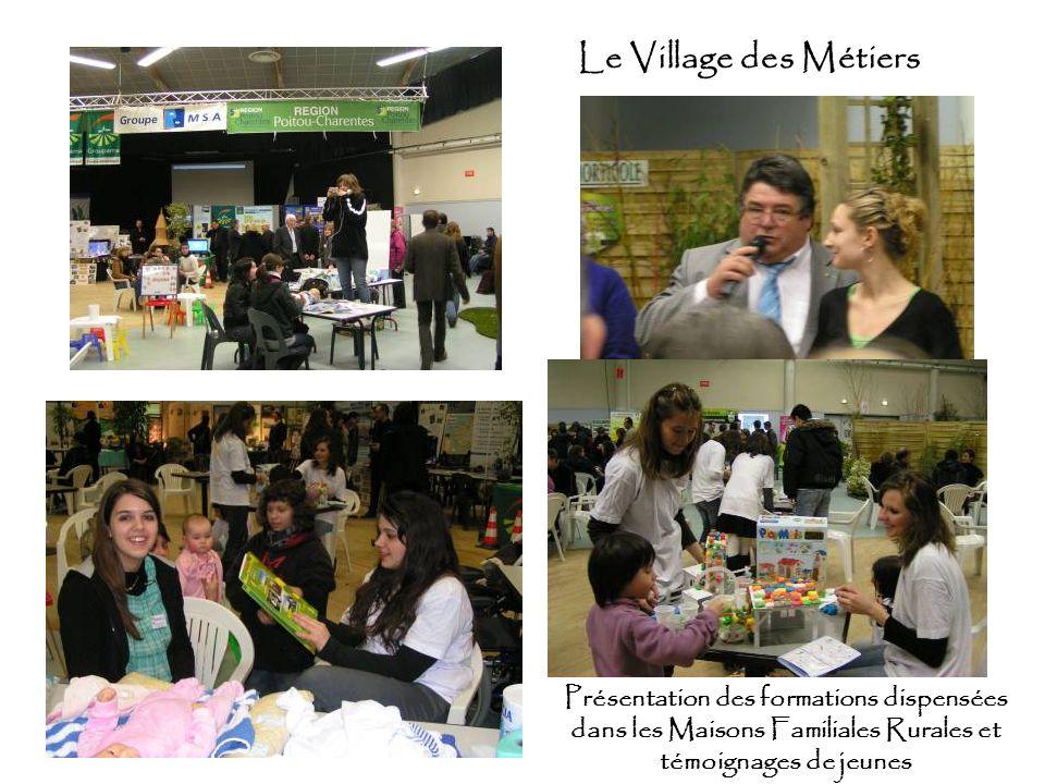 Le Village des Métiers Présentation des formations dispensées dans les Maisons Familiales Rurales et témoignages de jeunes
