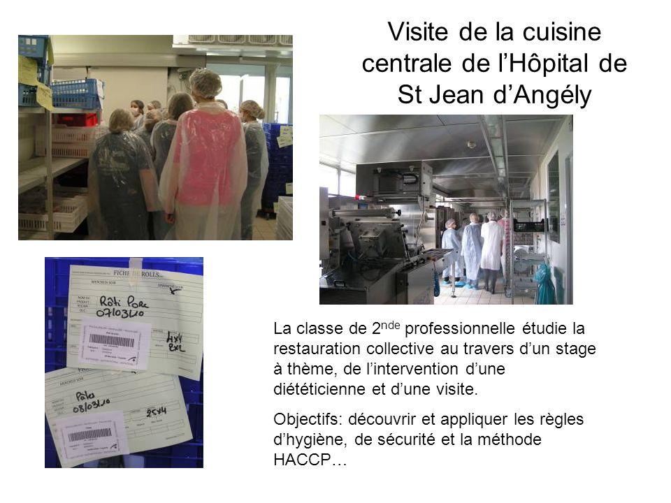 Visite de la cuisine centrale de lHôpital de St Jean dAngély La classe de 2 nde professionnelle étudie la restauration collective au travers dun stage