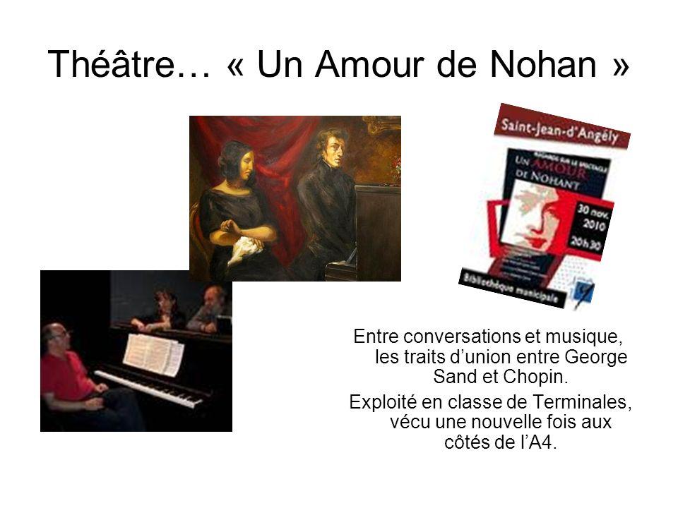 Théâtre… « Un Amour de Nohan » Entre conversations et musique, les traits dunion entre George Sand et Chopin. Exploité en classe de Terminales, vécu u