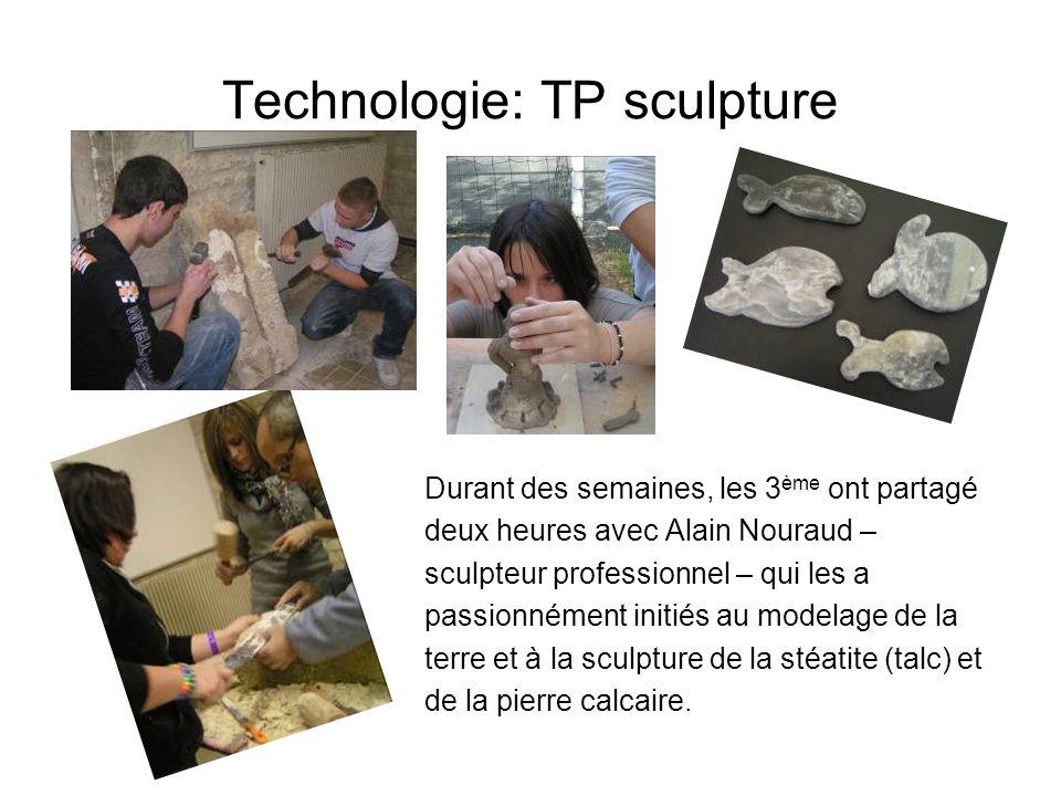 Technologie: TP sculpture Durant des semaines, les 3 ème ont partagé deux heures avec Alain Nouraud – sculpteur professionnel – qui les a passionnémen