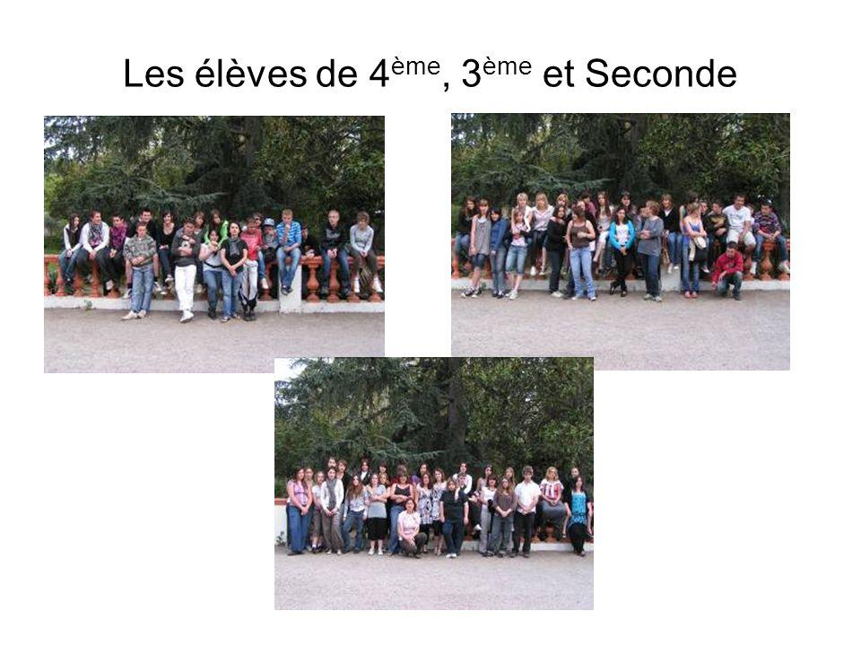 Les élèves de 4 ème, 3 ème et Seconde