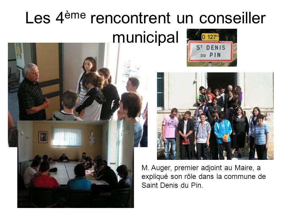 Les 4 ème rencontrent un conseiller municipal M. Auger, premier adjoint au Maire, a expliqué son rôle dans la commune de Saint Denis du Pin.
