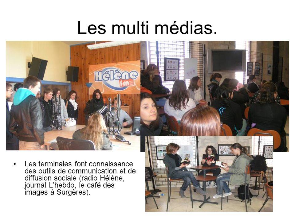 Les multi médias. Les terminales font connaissance des outils de communication et de diffusion sociale (radio Hélène, journal Lhebdo, le café des imag