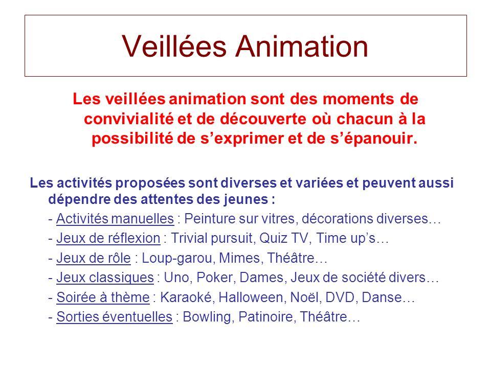 Veillées Animation Les veillées animation sont des moments de convivialité et de découverte où chacun à la possibilité de sexprimer et de sépanouir. L