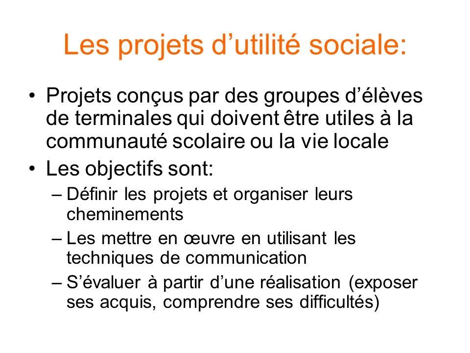 Les projets dutilité sociale: Projets conçus par des groupes délèves de terminales qui doivent être utiles à la communauté scolaire ou la vie locale L