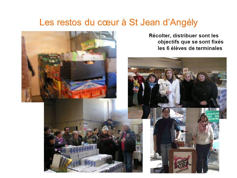 Les restos du cœur à St Jean dAngély Récolter, distribuer sont les objectifs que se sont fixés les 6 élèves de terminales