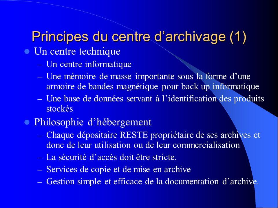 Principes du centre darchivage (1) Un centre technique – Un centre informatique – Une mémoire de masse importante sous la forme dune armoire de bandes