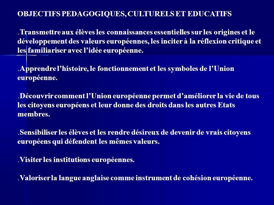 OBJECTIFS PEDAGOGIQUES, CULTURELS ET EDUCATIFS.
