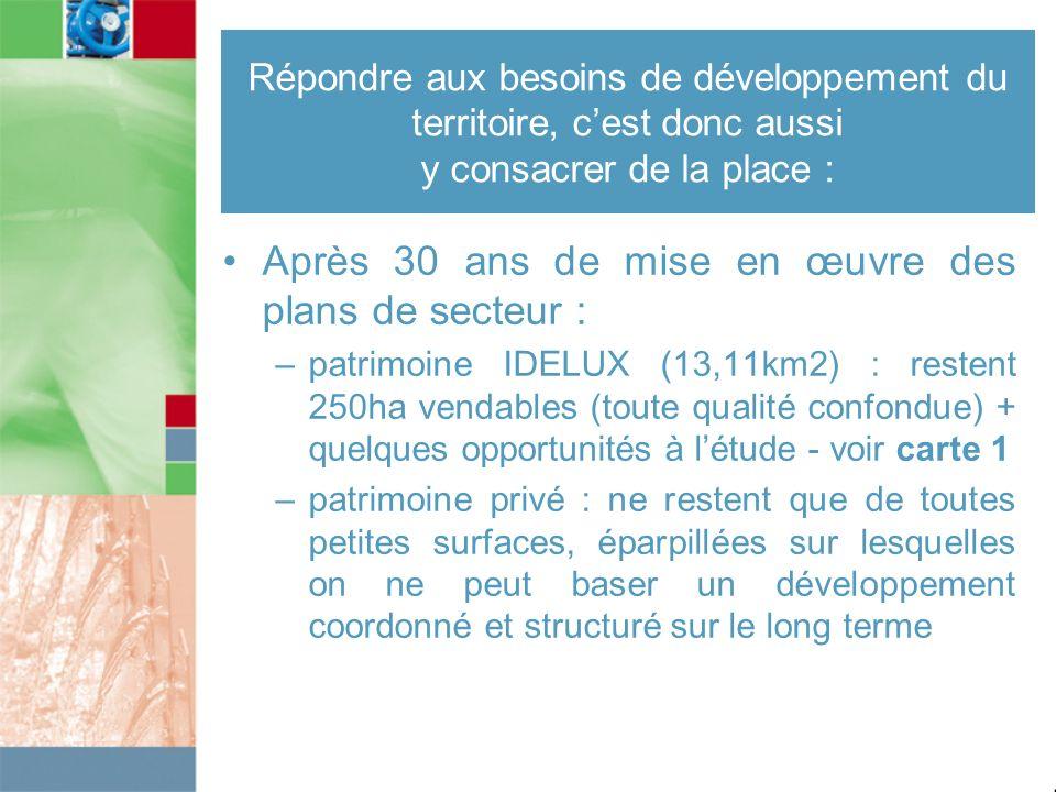Répondre aux besoins de développement du territoire, cest donc aussi y consacrer de la place : Après 30 ans de mise en œuvre des plans de secteur : –p
