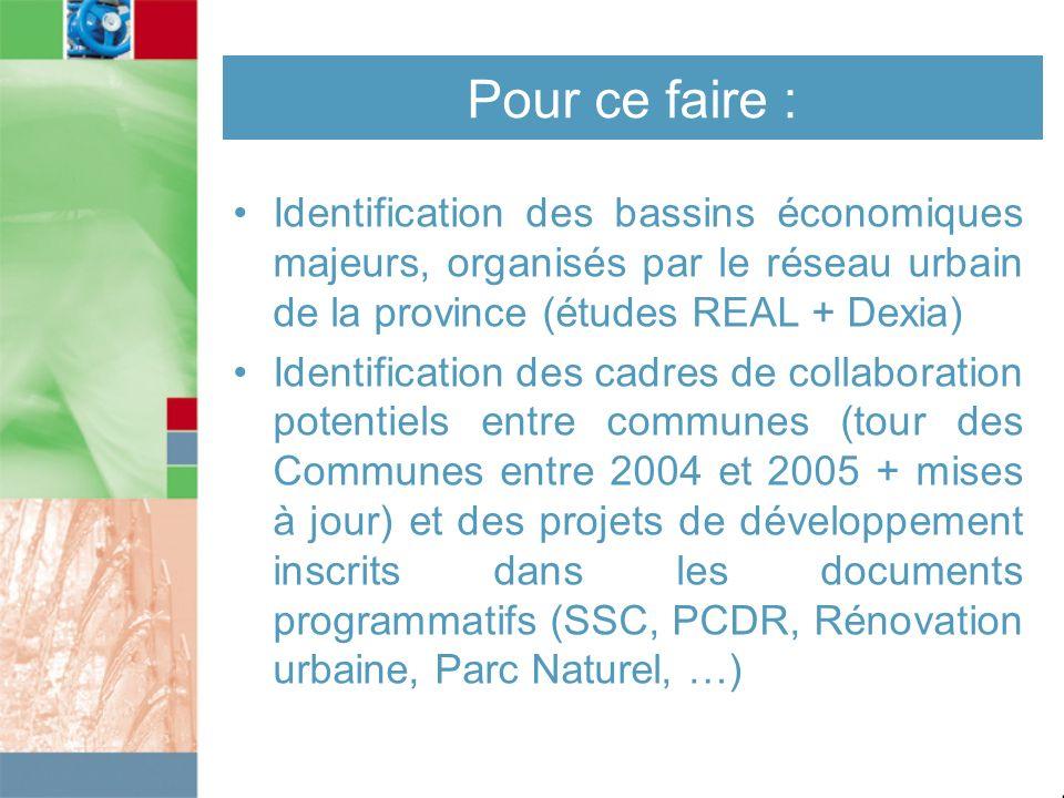 Pour ce faire : Identification des bassins économiques majeurs, organisés par le réseau urbain de la province (études REAL + Dexia) Identification des