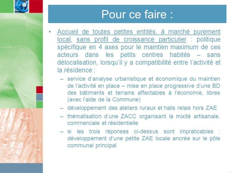 Pour ce faire : Accueil de toutes petites entités, à marché purement local, sans profil de croissance particulier : politique spécifique en 4 axes pou