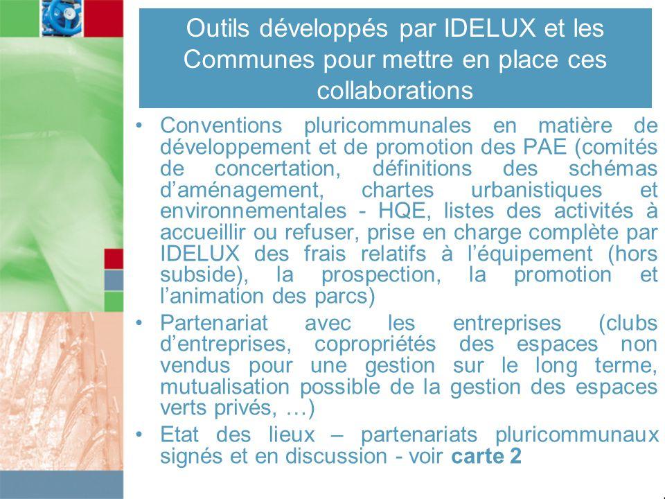 Outils développés par IDELUX et les Communes pour mettre en place ces collaborations Conventions pluricommunales en matière de développement et de pro