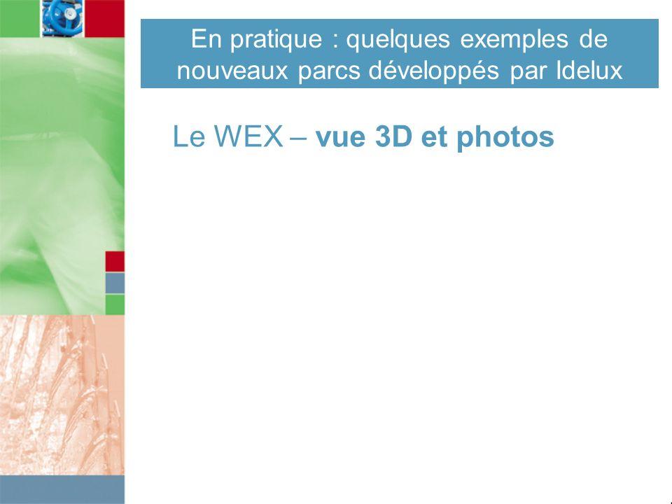 En pratique : quelques exemples de nouveaux parcs développés par Idelux Le WEX – vue 3D et photos