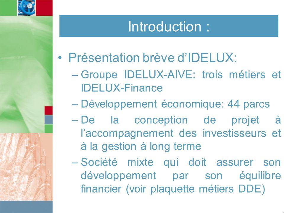 Introduction : Présentation brève dIDELUX: –Groupe IDELUX-AIVE: trois métiers et IDELUX-Finance –Développement économique: 44 parcs –De la conception