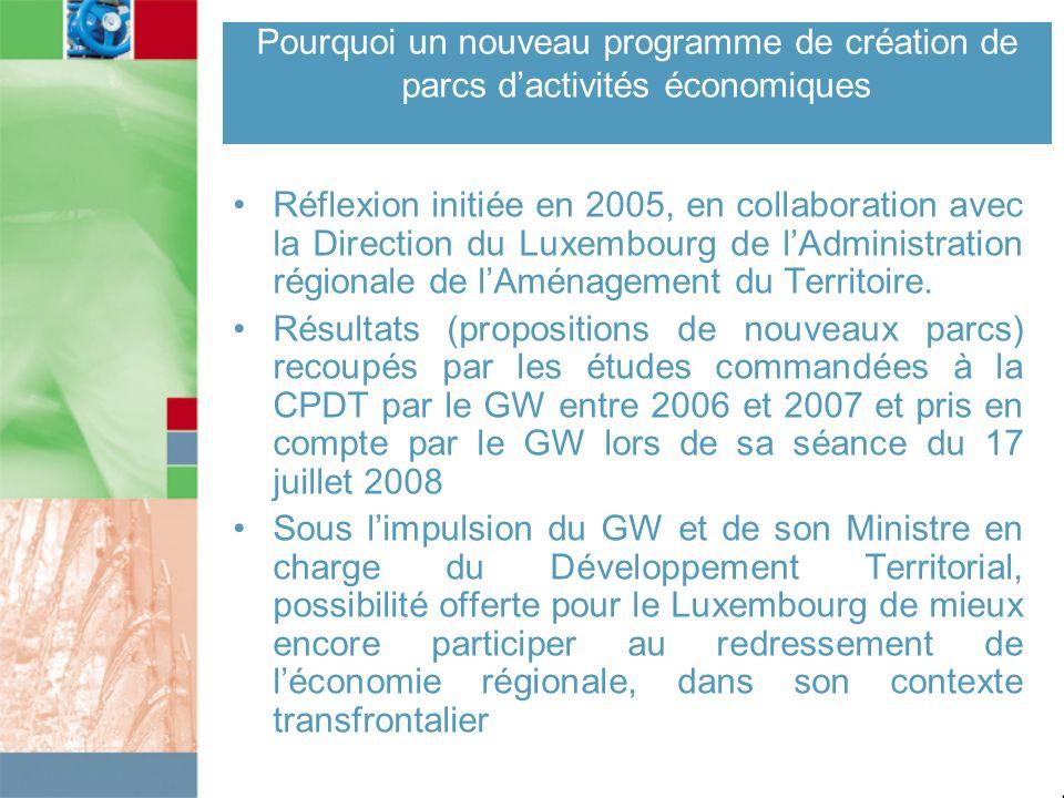 Réflexion initiée en 2005, en collaboration avec la Direction du Luxembourg de lAdministration régionale de lAménagement du Territoire. Résultats (pro