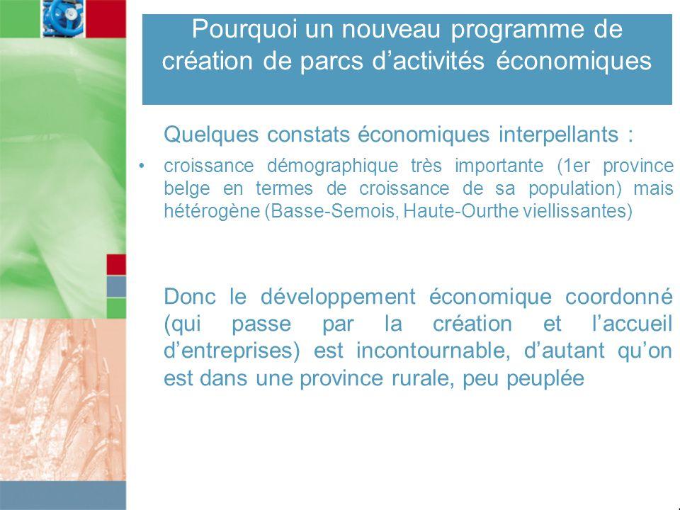 Pourquoi un nouveau programme de création de parcs dactivités économiques Quelques constats économiques interpellants : croissance démographique très