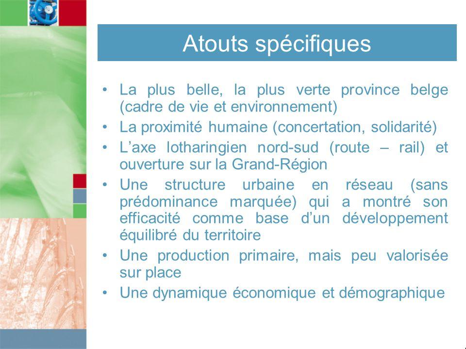 Atouts spécifiques La plus belle, la plus verte province belge (cadre de vie et environnement) La proximité humaine (concertation, solidarité) Laxe lo
