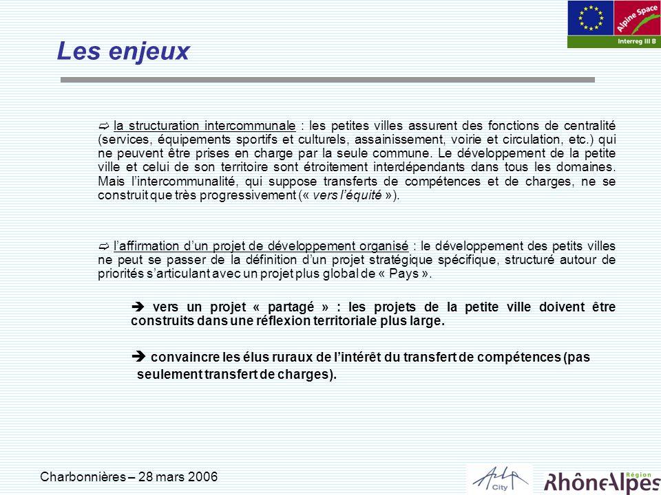 Charbonnières – 28 mars 2006 Les enjeux la structuration intercommunale : les petites villes assurent des fonctions de centralité (services, équipemen