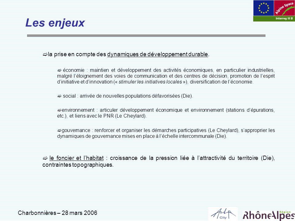 Charbonnières – 28 mars 2006 Les enjeux la prise en compte des dynamiques de développement durable. économie : maintien et développement des activités