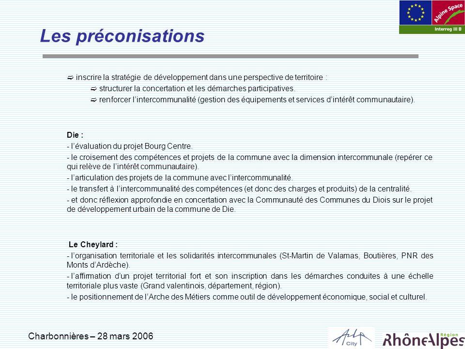 Charbonnières – 28 mars 2006 Les préconisations inscrire la stratégie de développement dans une perspective de territoire : structurer la concertation