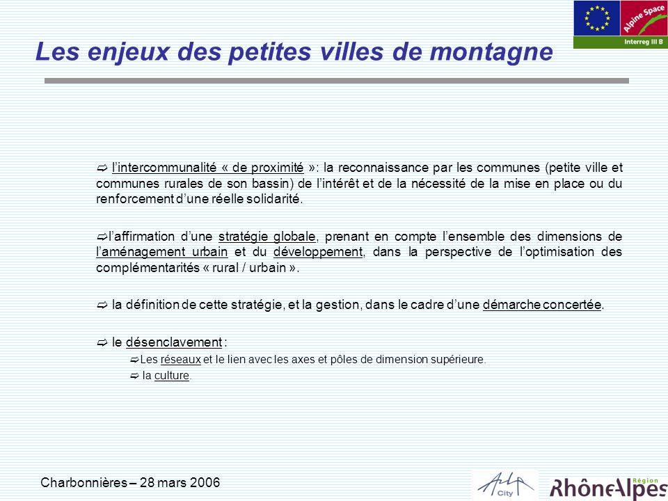 Charbonnières – 28 mars 2006 Les enjeux des petites villes de montagne lintercommunalité « de proximité »: la reconnaissance par les communes (petite
