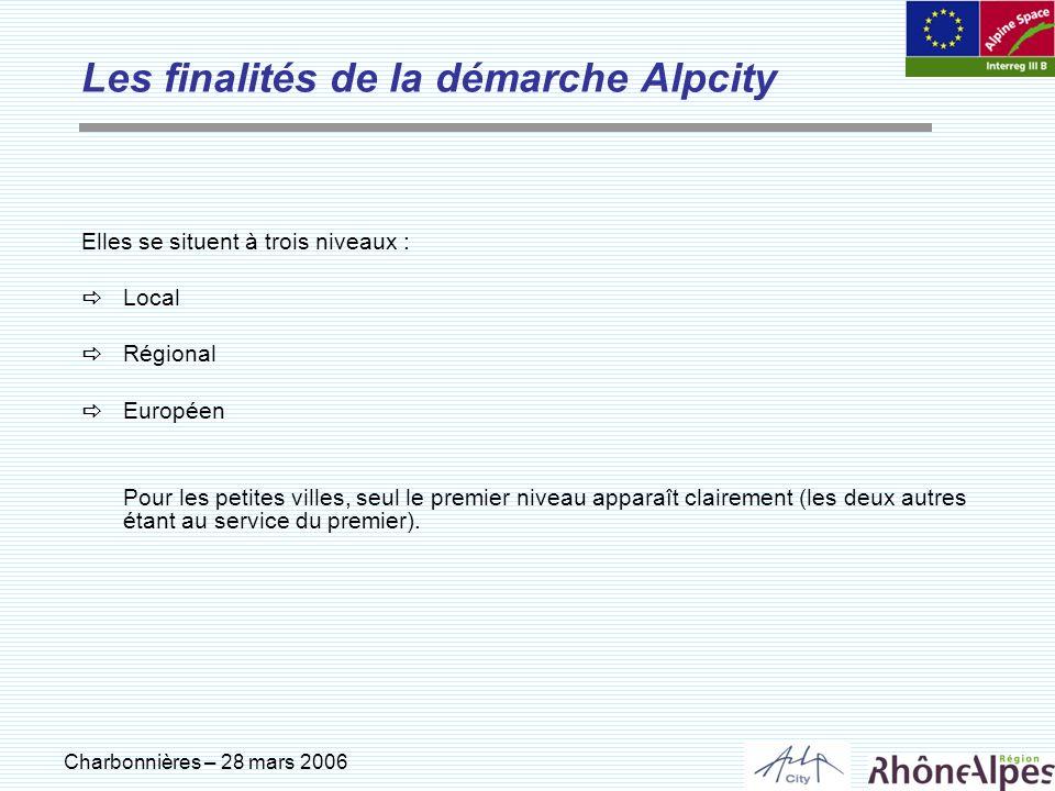 Charbonnières – 28 mars 2006 Elles se situent à trois niveaux : Local Régional Européen Pour les petites villes, seul le premier niveau apparaît clair