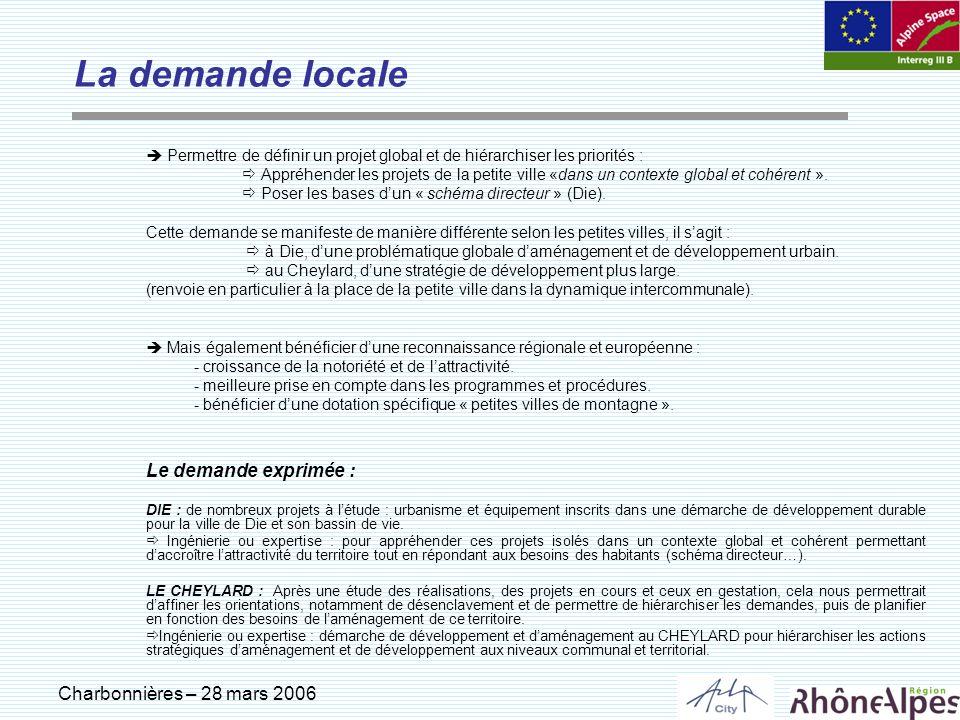 Charbonnières – 28 mars 2006 La demande locale Permettre de définir un projet global et de hiérarchiser les priorités : Appréhender les projets de la