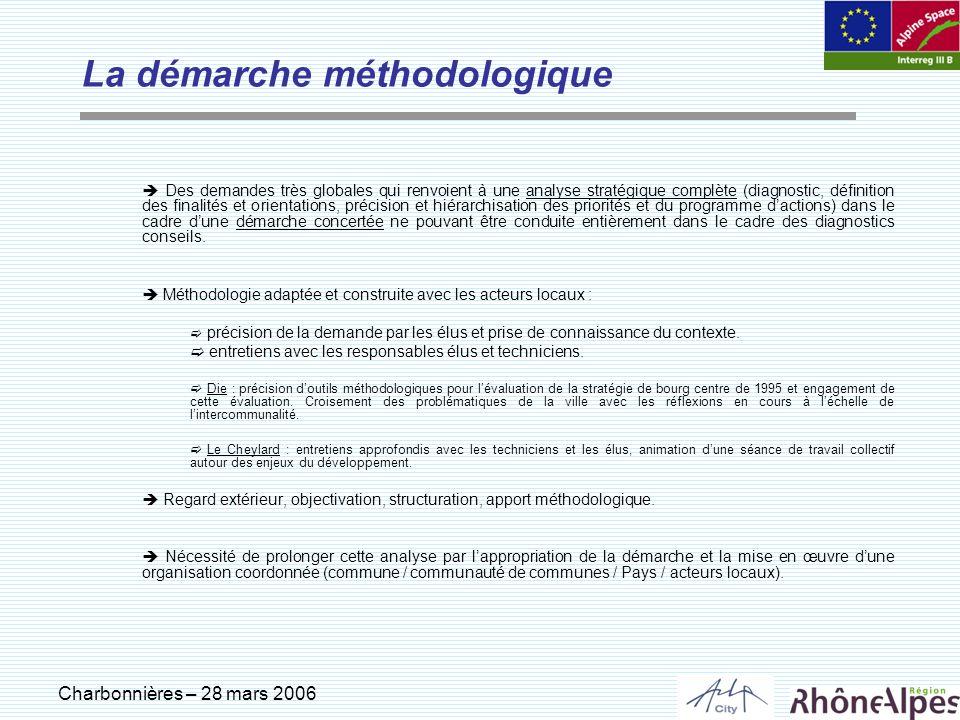 Charbonnières – 28 mars 2006 La démarche méthodologique Des demandes très globales qui renvoient à une analyse stratégique complète (diagnostic, défin