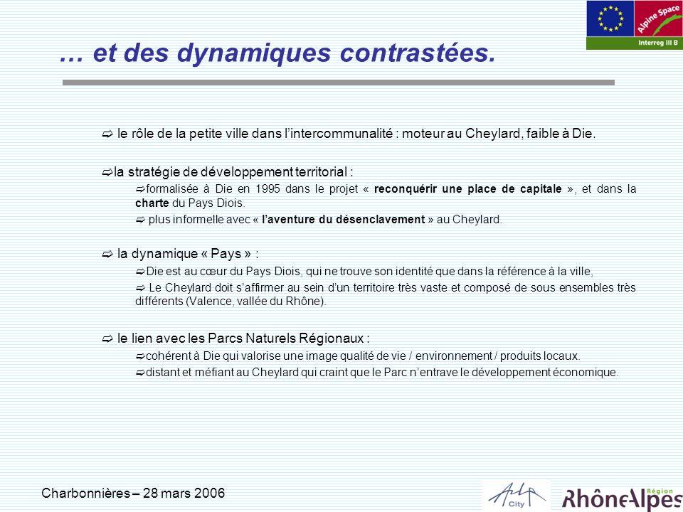 Charbonnières – 28 mars 2006 … et des dynamiques contrastées. le rôle de la petite ville dans lintercommunalité : moteur au Cheylard, faible à Die. la