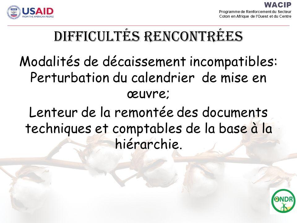 WACIP Programme de Renforcement du Secteur Coton en Afrique de lOuest et du Centre Difficultés rencontréEs Modalités de décaissement incompatibles: Perturbation du calendrier de mise en œuvre; Lenteur de la remontée des documents techniques et comptables de la base à la hiérarchie.