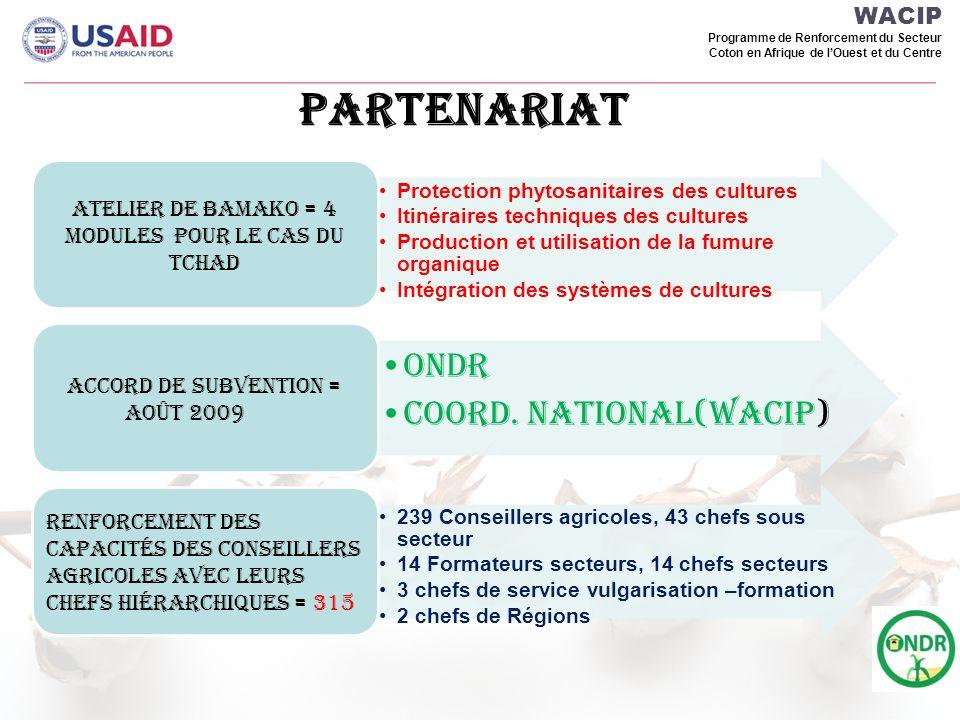 WACIP Programme de Renforcement du Secteur Coton en Afrique de lOuest et du Centre REPARTITION GEOGRAPHIQUE DES AGENTS a FORMER EN IPM & GIFS