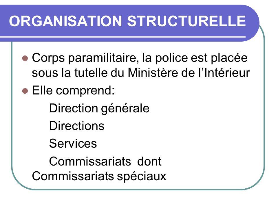 ORGANISATION STRUCTURELLE Corps paramilitaire, la police est placée sous la tutelle du Ministère de lIntérieur Elle comprend: Direction générale Direc