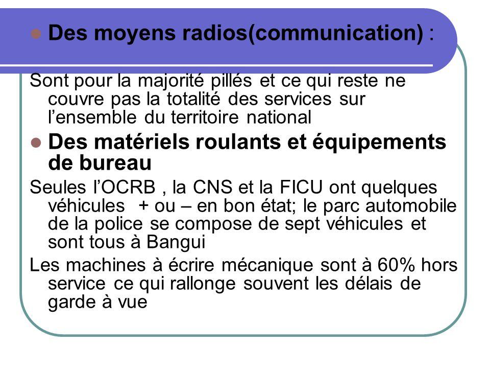 Des moyens radios(communication) : Sont pour la majorité pillés et ce qui reste ne couvre pas la totalité des services sur lensemble du territoire nat