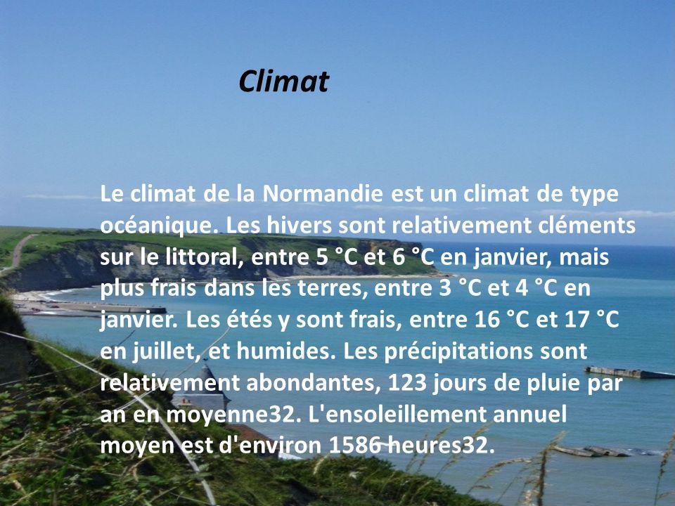 Le climat de la Normandie est un climat de type océanique. Les hivers sont relativement cléments sur le littoral, entre 5 °C et 6 °C en janvier, mais