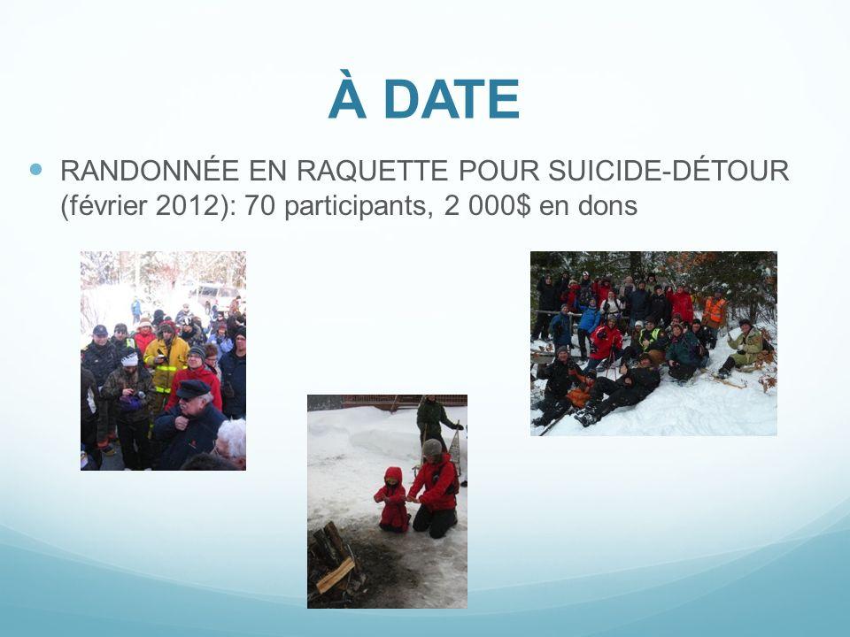 À DATE RANDONNÉE EN RAQUETTE POUR SUICIDE-DÉTOUR (février 2012): 70 participants, 2 000$ en dons