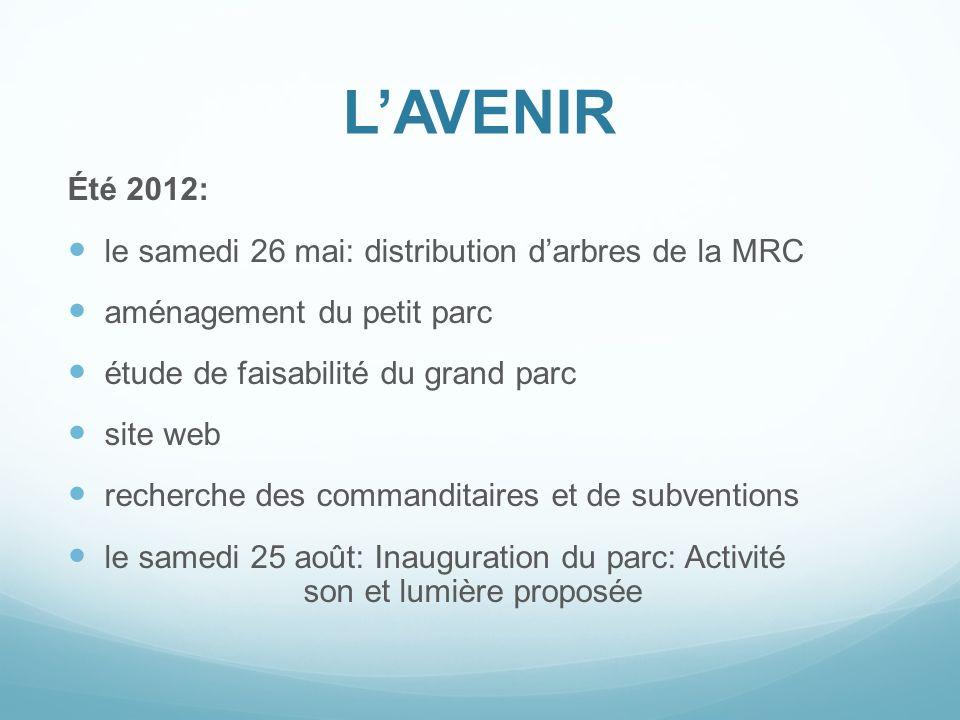 LAVENIR Été 2012: le samedi 26 mai: distribution darbres de la MRC aménagement du petit parc étude de faisabilité du grand parc site web recherche des
