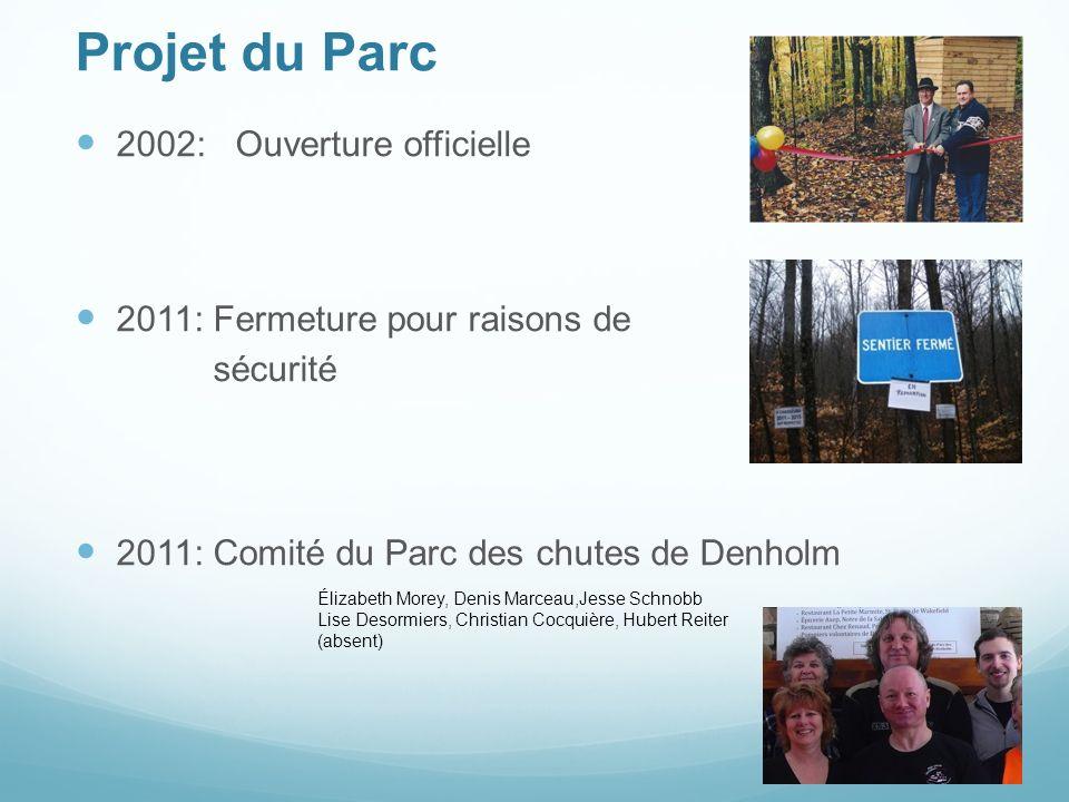 Projet du Parc 2002: Ouverture officielle 2011: Fermeture pour raisons de sécurité 2011: Comité du Parc des chutes de Denholm Élizabeth Morey, Denis M