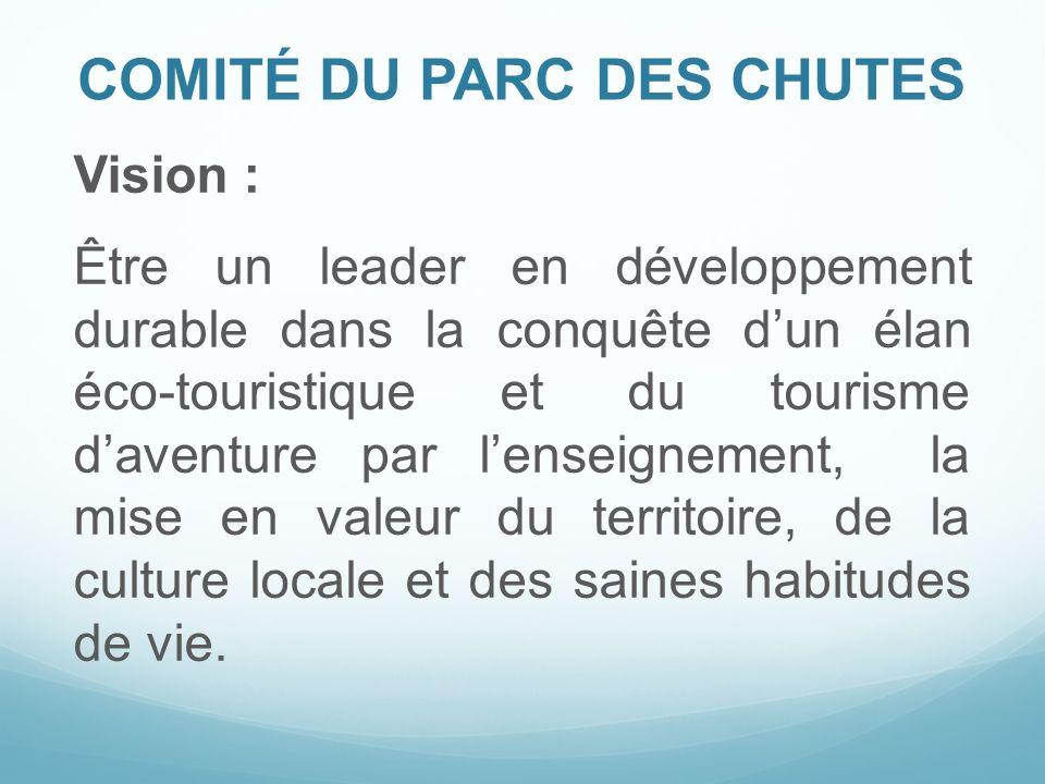 COMITÉ DU PARC DES CHUTES Vision : Être un leader en développement durable dans la conquête dun élan éco-touristique et du tourisme daventure par lens