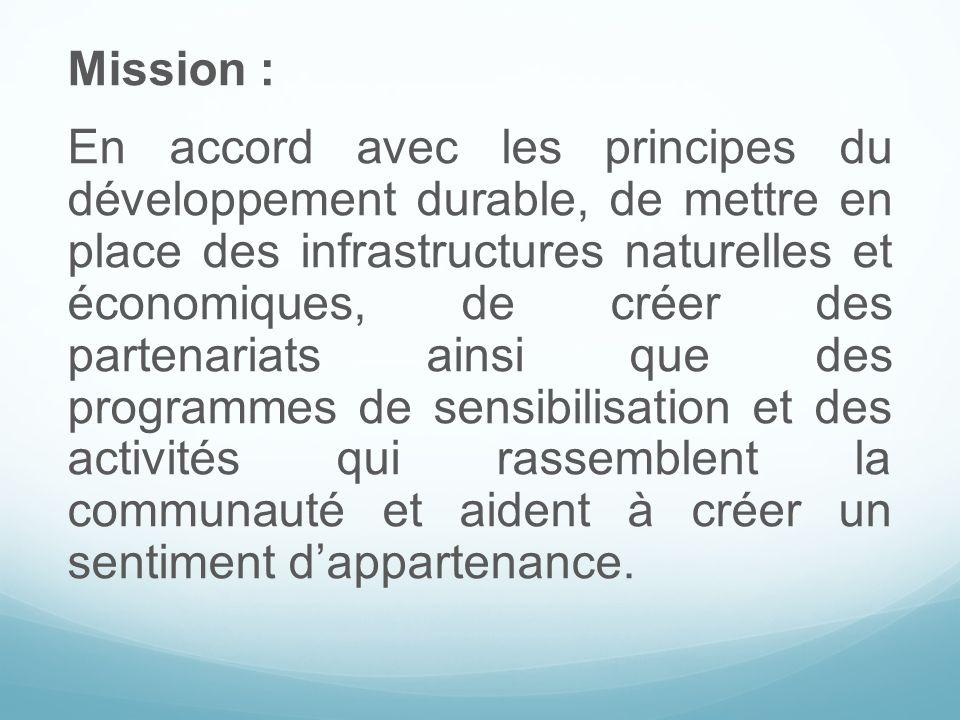 Mission : En accord avec les principes du développement durable, de mettre en place des infrastructures naturelles et économiques, de créer des parten