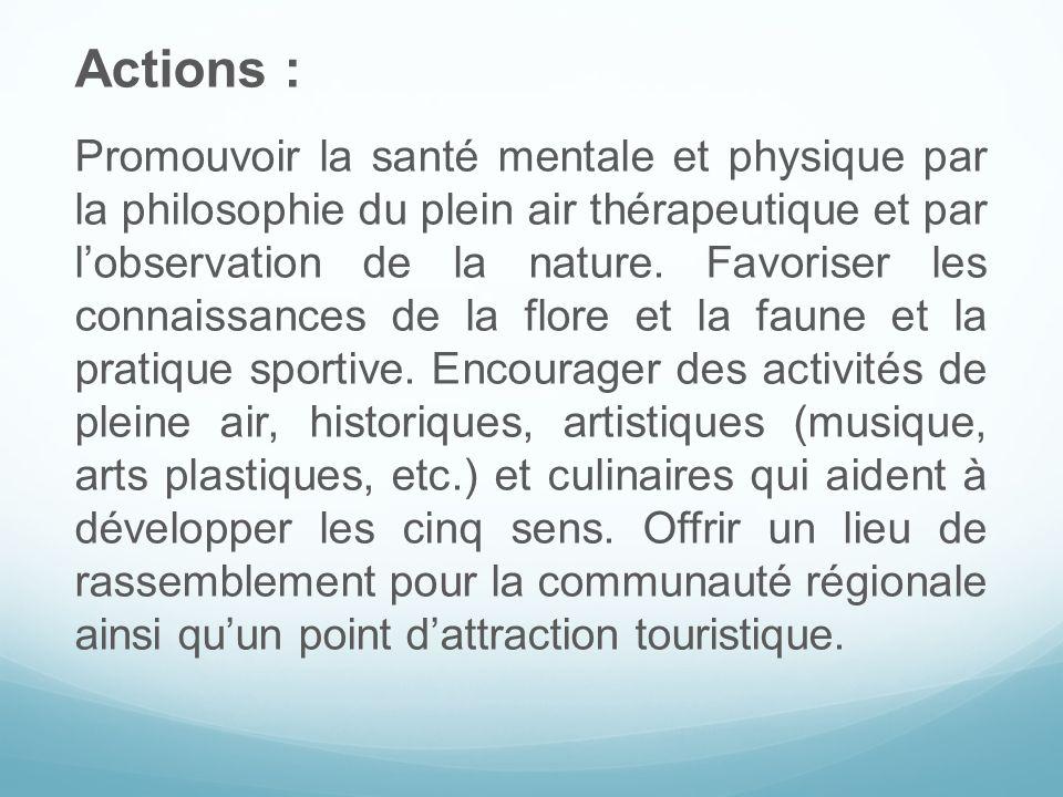Actions : Promouvoir la santé mentale et physique par la philosophie du plein air thérapeutique et par lobservation de la nature. Favoriser les connai