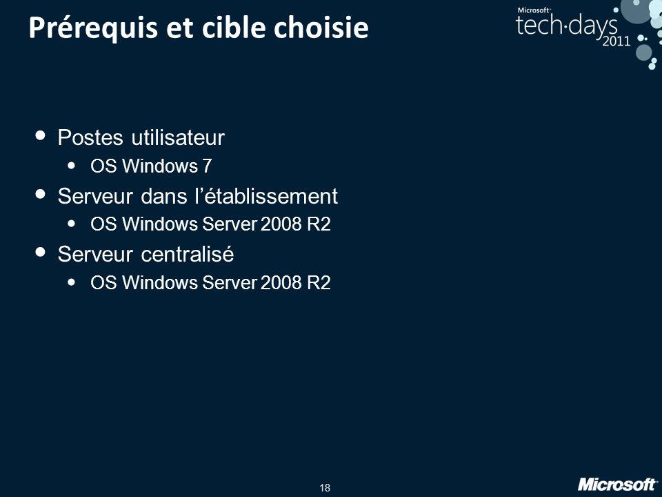 18 Prérequis et cible choisie Postes utilisateur OS Windows 7 Serveur dans létablissement OS Windows Server 2008 R2 Serveur centralisé OS Windows Serv