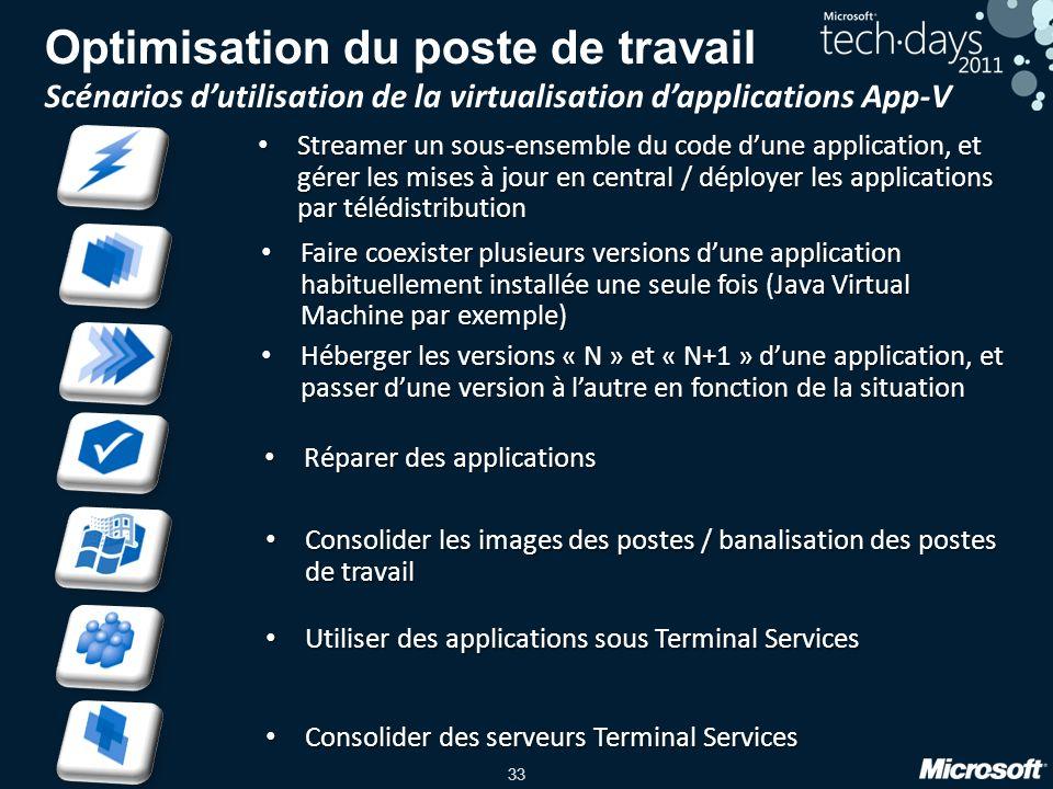 33 Optimisation du poste de travail Scénarios dutilisation de la virtualisation dapplications App-V Réparer des applications Réparer des applications