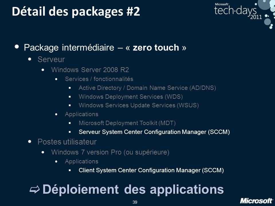 39 Détail des packages #2 Package intermédiaire – « zero touch » Serveur Windows Server 2008 R2 Services / fonctionnalités Active Directory / Domain N